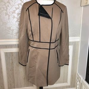 INC vegan leather detail long jacket size large